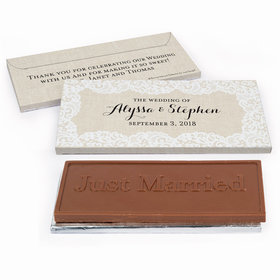 Deluxe Personalized Lace Trim on Burlap Wedding Chocolate Bar in Gift Box