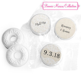 Personalized Bonnie Marcus Life Savers Mints - Wedding Lace Trim on Burlap