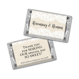 Personalized Bonnie Marcus Mini Wrappers Only - Wedding Lace Trim on Burlap