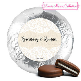 Personalized Bonnie Marcus Milk Chocolate Covered Oreos - Wedding Lace Trim on Burlap (24 Pack)