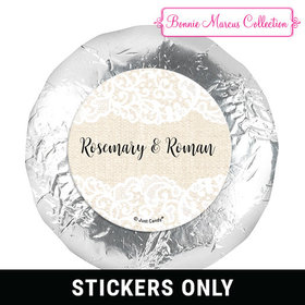 "Personalized Bonnie Marcus 1.25"" Stickers - Wedding Lace Trim on Burlap (48 Stickers)"