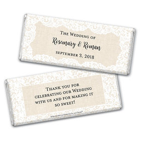 Personalized Bonnie Marcus Chocolate Bar & Wrapper - Wedding Lace Trim on Burlap