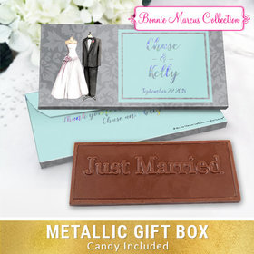 Deluxe Personalized Forever Together Wedding Embossed Chocolate Bar in Metallic Gift Box