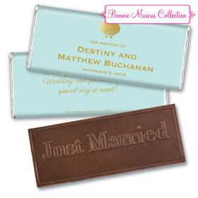 Personalized Bonnie Marcus Wedding Siren's Shell Embossed Chocolate Bar & Wrapper