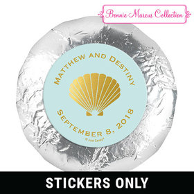 "Personalized Bonnie Marcus 1.25"" Stickers - Wedding Siren's Shell (48 Stickers)"