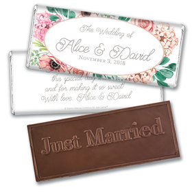 Personalized Bonnie Marcus Embossed Chocolate Bar & Wrapper - Bridal Shower Blossom Bliss