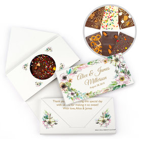 Personalized Bonnie Marcus Wedding Painted Flowers Gourmet Infused Chocolate Bars (3.5oz)