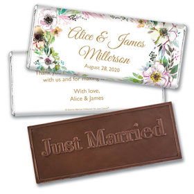 Personalized Bonnie Marcus Embossed Chocolate Bar & Wrapper - Wedding Painted Flowers