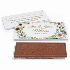 Deluxe Personalized Painted Flowers Wedding Chocolate Bar in Gift Box