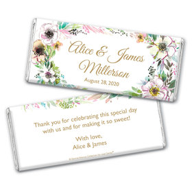 Personalized Bonnie Marcus Chocolate Bar & Wrapper - Wedding Painted Flowers