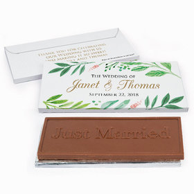 Deluxe Personalized Watercolor Plants Wedding Chocolate Bar in Gift Box