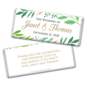 Personalized Bonnie Marcus Chocolate Bar Wrappers - Wedding Watercolor Plants