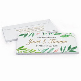 Deluxe Personalized Watercolor Plants Wedding Hershey's Chocolate Bar in Gift Box