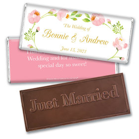 Personalized Bonnie Marcus Embossed Chocolate Bar & Wrapper - Wedding Botanical Wreath