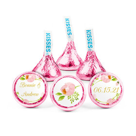 Personalized Bonnie Marcus Wedding Botanical Wreath Hershey's Kisses (50 pack)
