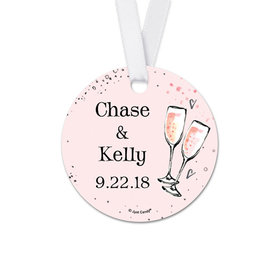 Personalized Bonnie Marcus Collection The Bubbly Wedding Round Favor Gift Tags (20 Pack)