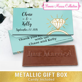 Deluxe Personalized Last Fling Wedding Chocolate Bar in Metallic Gift Box