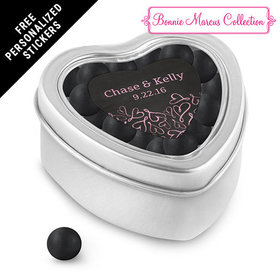 Bonnie Marcus Collection Personalized Small Heart Tin Sweetheart Swirl Wedding Favor