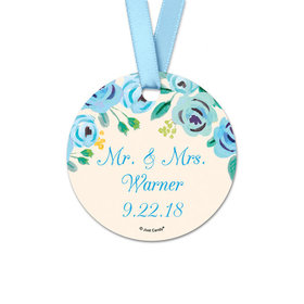 Personalized Bonnie Marcus Collection Blue Flowers Wedding Round Favor Gift Tags (20 Pack)