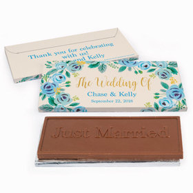Deluxe Personalized Blue Flowers Wedding Chocolate Bar in Gift Box