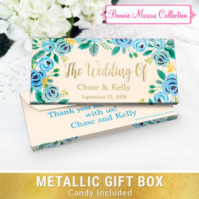Deluxe Personalized Something Blue Wedding Chocolate Bar in Metallic Gift Box