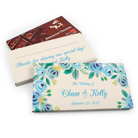 Deluxe Personalized Blue Flowers Wedding Chocolate Parve Bar in Gift Box (3.5oz Bar)
