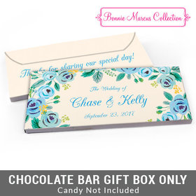 Deluxe Personalized Blue Flowers Wedding Candy Bar Favor Box