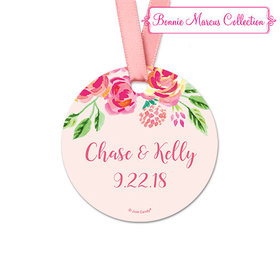 Personalized Bonnie Marcus Collection Pink Flowers Wedding Round Favor Gift Tags (20 Pack)