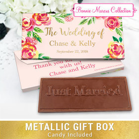Deluxe Personalized Pink Flowers Wedding Embossed Chocolate Bar in Metallic Gift Box
