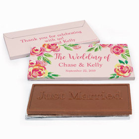 Deluxe Personalized Pink Flowers Wedding Chocolate Bar in Gift Box