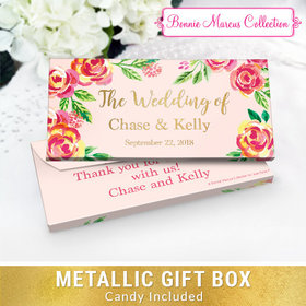 Deluxe Personalized Pink Flowers Wedding Chocolate Bar in Metallic Gift Box