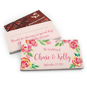 Deluxe Personalized Pink Flowers Wedding Chocolate Parve Bar in Gift Box (3.5oz Bar)