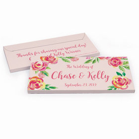Deluxe Personalized Pink Flowers Wedding Hershey's Chocolate Bar in Gift Box
