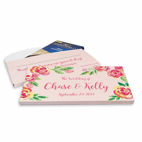 Deluxe Personalized Pink Flowers Wedding Ghirardelli Chocolate Bar in Gift Box