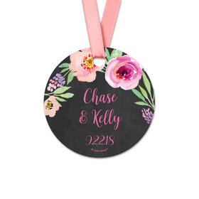 Personalized Bonnie Marcus Collection Floral Embrace Wedding Round Favor Gift Tags (20 Pack)