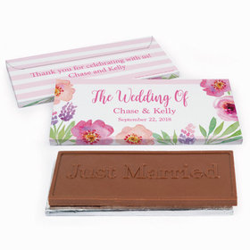 Deluxe Personalized Floral Embrace Wedding Chocolate Bar in Gift Box