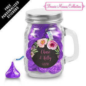 Bonnie Marcus Collection Personalized Mini Mason Jar Floral Embrace Custom Wedding Favor (12 Pack)