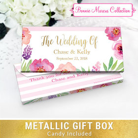 Deluxe Personalized Floral Embrace Wedding Chocolate Bar in Metallic Gift Box