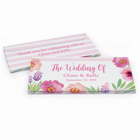 Deluxe Personalized Floral Embrace Wedding Hershey's Chocolate Bar in Gift Box