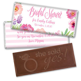 Floral Embrace Bridal Shower Favors Personalized Embossed Bar Assembled