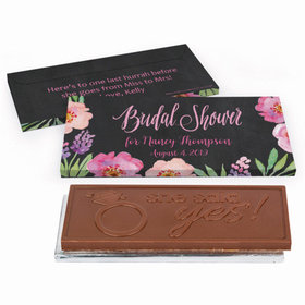 Deluxe Personalized Floral Embrace Bridal Shower Embossed Chocolate Bar in Gift Box