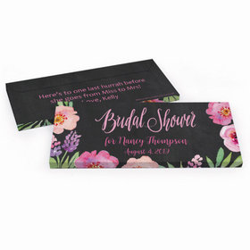 Deluxe Personalized Floral Embrace Bridal Shower Chocolate Bar in Gift Box