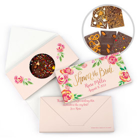 Personalized Bonnie Marcus Pink Flowers Bridal Shower Gourmet Infused Belgian Chocolate Bars (3.5oz)