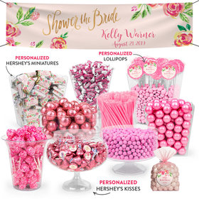Personalized Bridal Shower Pink Flowers Deluxe Candy Buffet