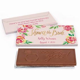 Deluxe Personalized In the Pink Bridal Shower Embossed Chocolate Bar in Gift Box
