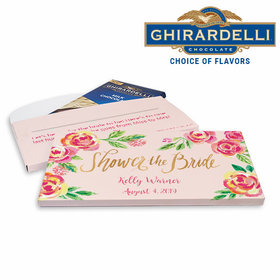 Deluxe Personalized In the Pink Bridal Shower Ghirardelli Chocolate Bar in Gift Box