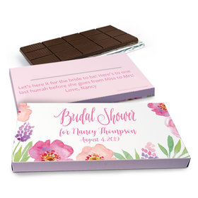 Deluxe Personalized Floral Embrace Wedding Belgian Chocolate Bar in Gift Box (3oz Bar)