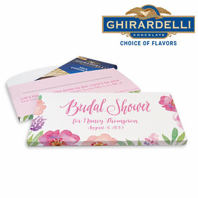 Deluxe Personalized Floral Embrace Bridal Shower Ghirardelli Peppermint Bark Bar in Gift Box (3.5oz)