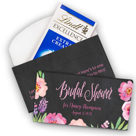 Deluxe Personalized Bonnie Marcus Bridal Shower Floral Embrace Lindt Chocolate Bar in Gift Box (3.5oz)