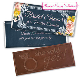 Personalized Bonnie Marcus Bridal Shower Chalkboard Flowers Chocolate Bar & Wrapper